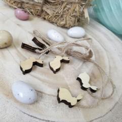 6 lapins en bois avec ficelle de lin
