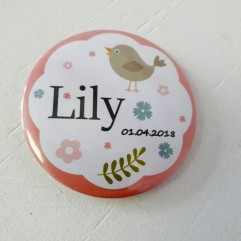 Badge & Co oiseau rose