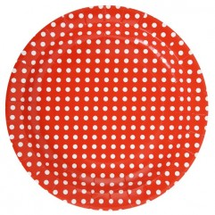 10 Assiettes Rouge À Pois