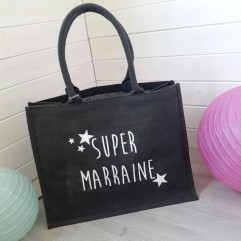 Sac en jute gris Super Marraine