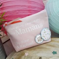 """Trousse """"La plus chouette des mamans"""" personnalisable"""