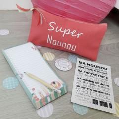 Pochette + carnet + aimant + carte Super Nounou (plage)