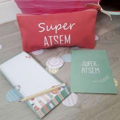 Pochette + carnet + aimant + carte Super Atsem (plage)