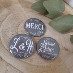 """Badge 37mm """"vintage gris foncé"""""""""""