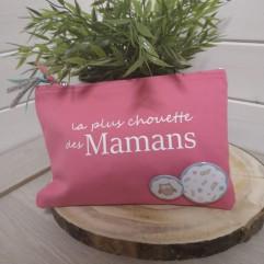 """Trousse personnalisable rose foncé""""La plus chouette des mamans"""""""