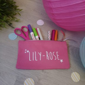 Trousse rose personnalisable
