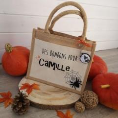 Petit sac en jute personnalisable Halloween