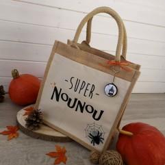 "Sac en jute ""super nounou"" Halloween"