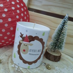 """Pot Bougie """"Joyeux Noël Nounou"""" Renne"""