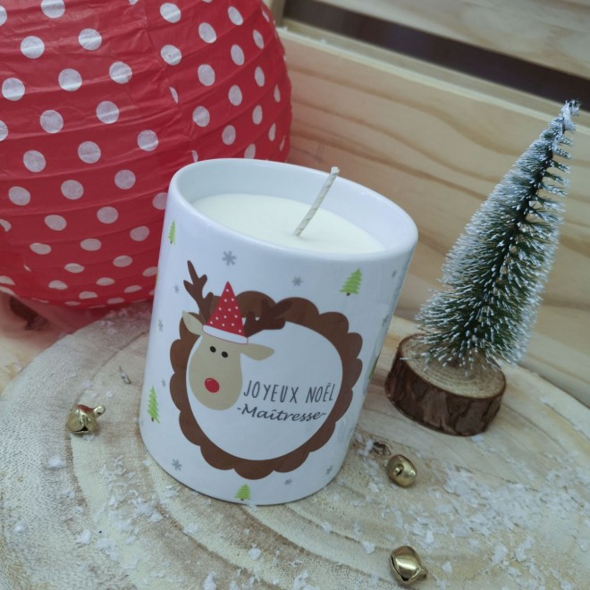 "Pot Bougie ""Joyeux Noël Maîtresse"" Renne"