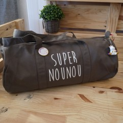 "Sac polochon gris taupe ""Super Nounou"""