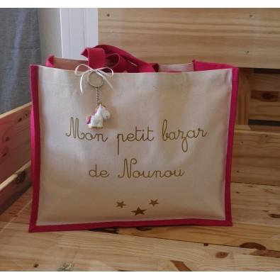 "Grand sac en jute fuchsia ""mon petit bazar de nounou"""
