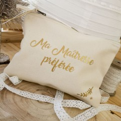 """Trousse beige """"Ma Maîtresse préférée"""""""