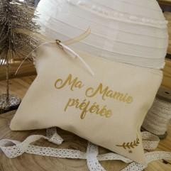 """Trousse beige """"Ma Mamie préférée"""""""