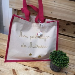 """Grand sac en jute fuchsia """"mon petit bazar de maîtresse"""""""