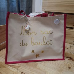 "Grand sac en jute fuchsia ""personnalisable"""