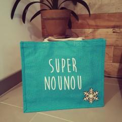 "Sac en jute turquoise"" Super Nounou"""