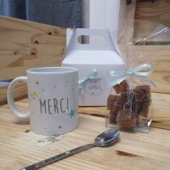 "Petite Box ""MERCI"" mug mint + gourmandise"