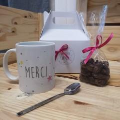 "Petite Box ""MERCI"" mug rose + gourmandise"