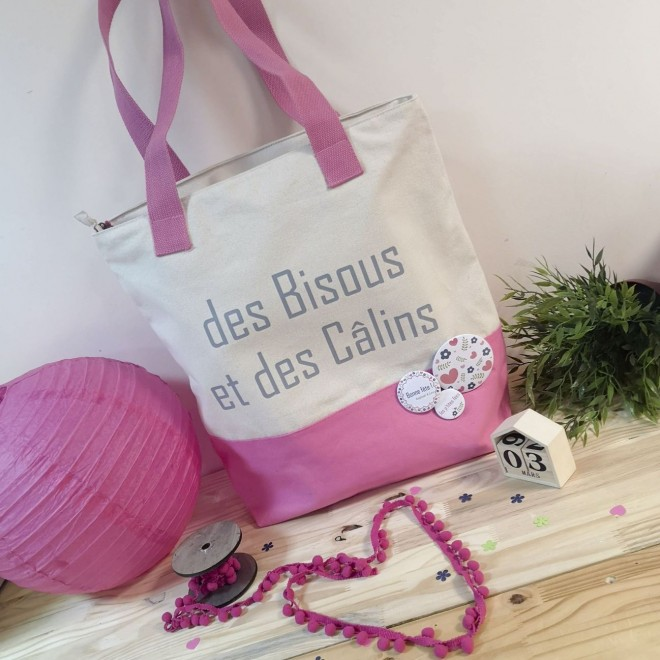 "Sac rose ""des Bisous, des Câlins"""