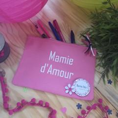 """Trousse rose """" fleurs"""" personnalisable"""