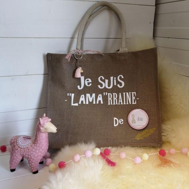 """Grand sac en jute """" Je suis LAMArraine de ..."""" R"""