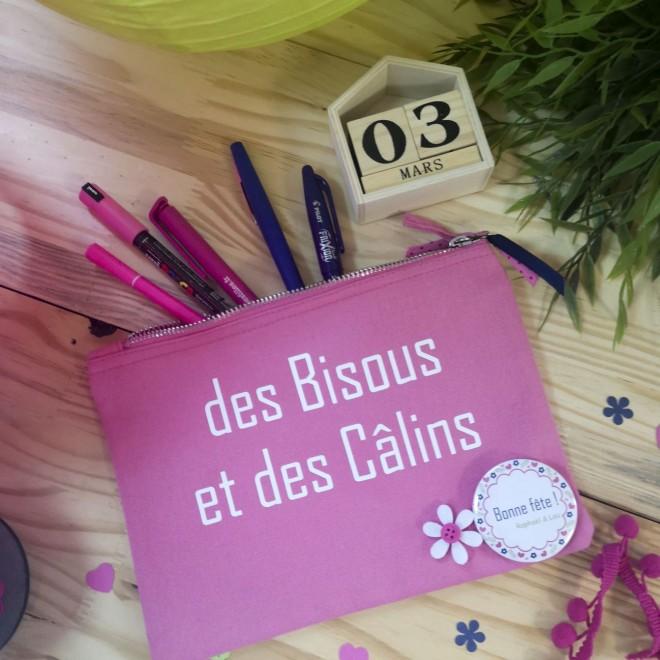 """Trousse """"des Bisous et des Câlins"""" rose"""