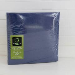 50 serviettes bleu marine