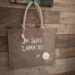 "Grand sac en jute "" Je suis LAMAmie de ..."" R"