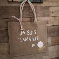 """Grand sac en jute """" Je suis LAMAman de ..."""" R"""