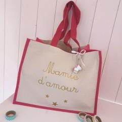 """Grand sac en jute fuchsia """"Mamie d'amour"""""""
