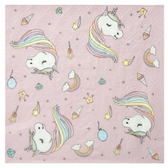 20 Serviette licorne rose