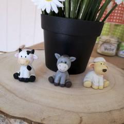 3 animaux de la ferme (vache, mouton, âne)