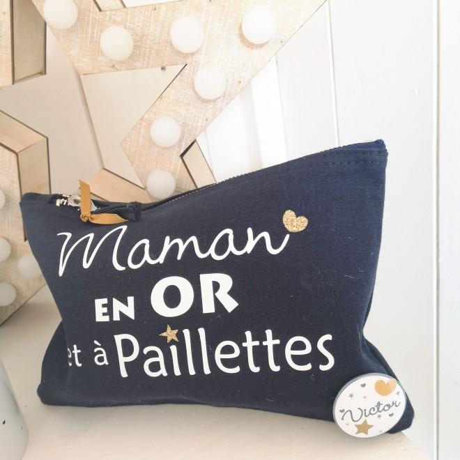 """Trousse """"Maman en OR et à paillettes"""""""