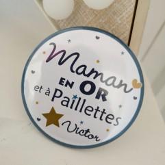 """Miroir """"Maman en OR et à paillettes"""""""