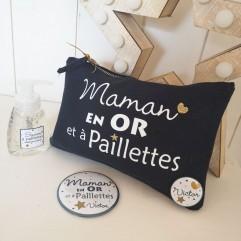 """Trousse, miroir et savon """"Maman en OR et à paillettes"""""""