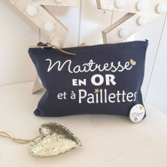 """Trousse """"Maîtresse OR et à paillettes"""""""