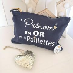 """Trousse """"Prénom en OR et à paillettes"""""""