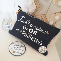 """Trousse, miroir et savon """"Infirmière en OR et à paillettes"""""""