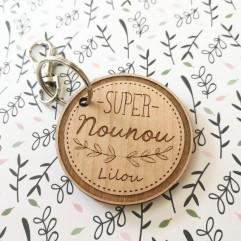"""Porte Clé en bois """"Super Nounou"""" personnalisable"""