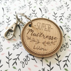 """Porte Clés en bois """"Super Maîtresse"""""""