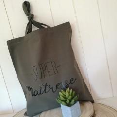 "Tote Bag ""super maîtresse"" kaki"