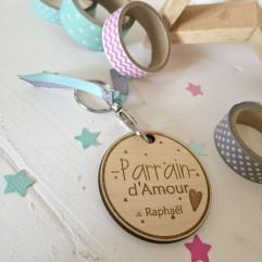 """Porte Clés en bois """"Parrain d'Amour"""" personnalisable"""