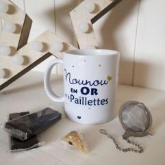 Mug Nounou en OR et chocolats