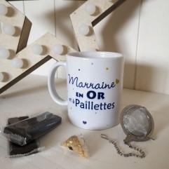 Mug Marraine en Or et chocolats