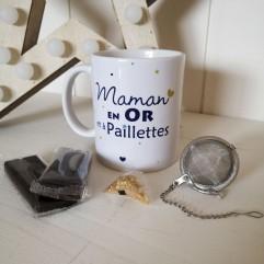 Mug Maman en Or et chocolats