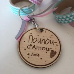 """Porte Clés en bois """"Nounou d'Amour"""" personnalisable"""