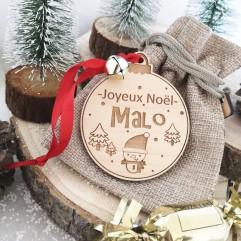 Boule de Noël Joyeux Noël + prénom rouge