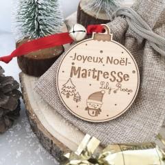 Boule de Noël Joyeux Noël Maîtresse