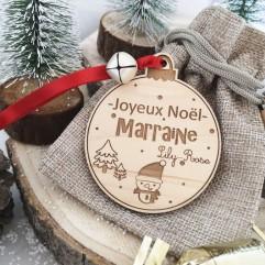 Boule de Noël Joyeux Noël Marraine